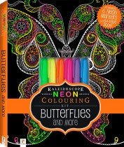 Neon Colouring Kit with 6 highlighters: Butterflies