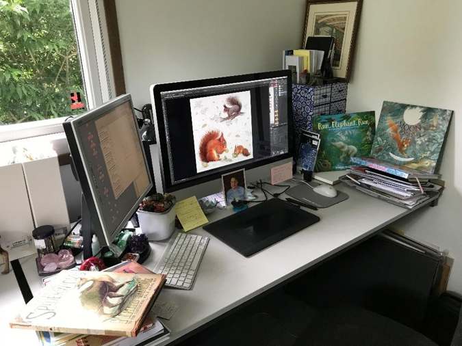 Illustrator Patricia MacCarthy's Desk and Studio