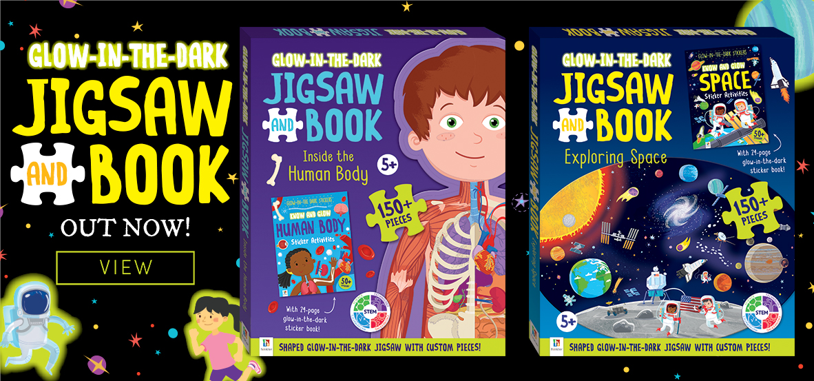 glow stickers jigsaws book shaped human body space