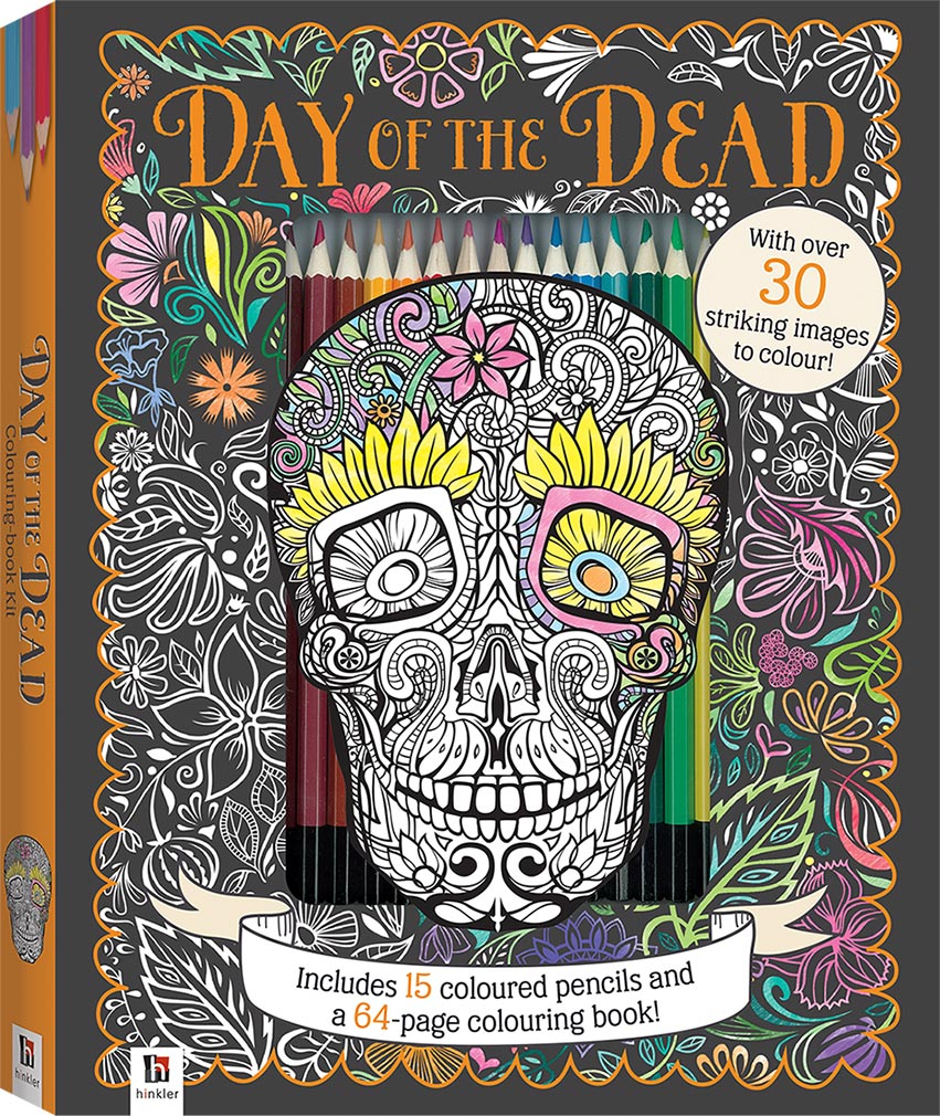 day of the dead colouring kit with 15 pencils colouring art craft children hinkler - Day Of The Dead Coloring Book