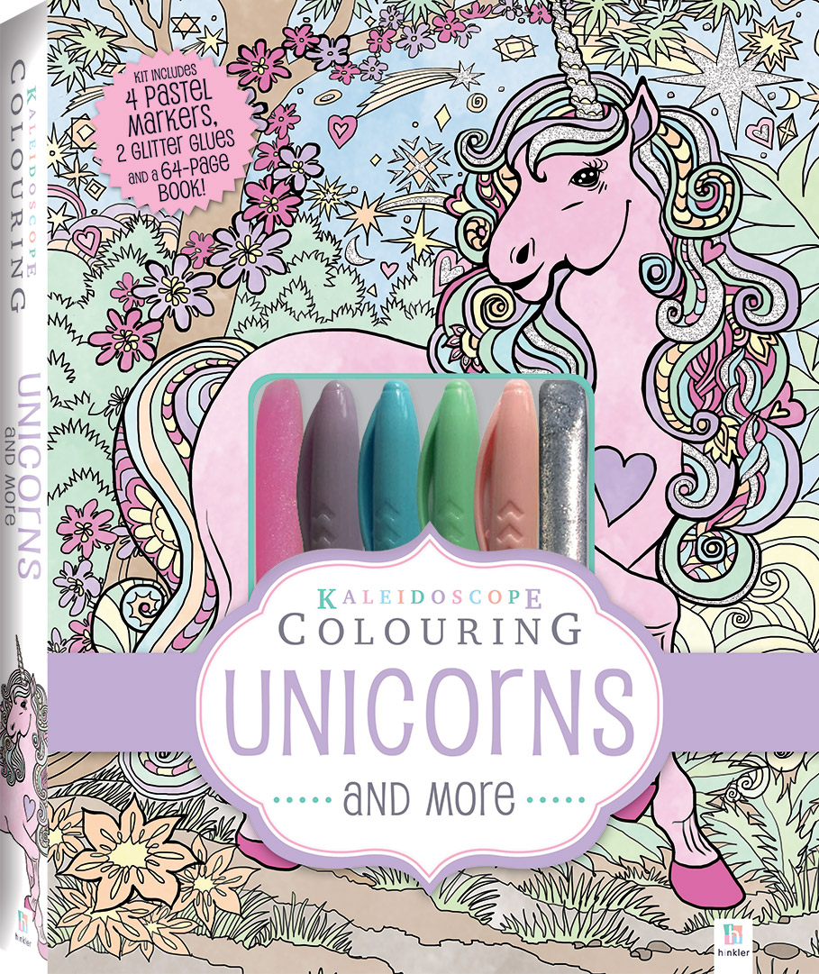 kaleidoscope pastel colouring kit unicorns and more colouring colour activity children hinkler - Colouring The Pictures