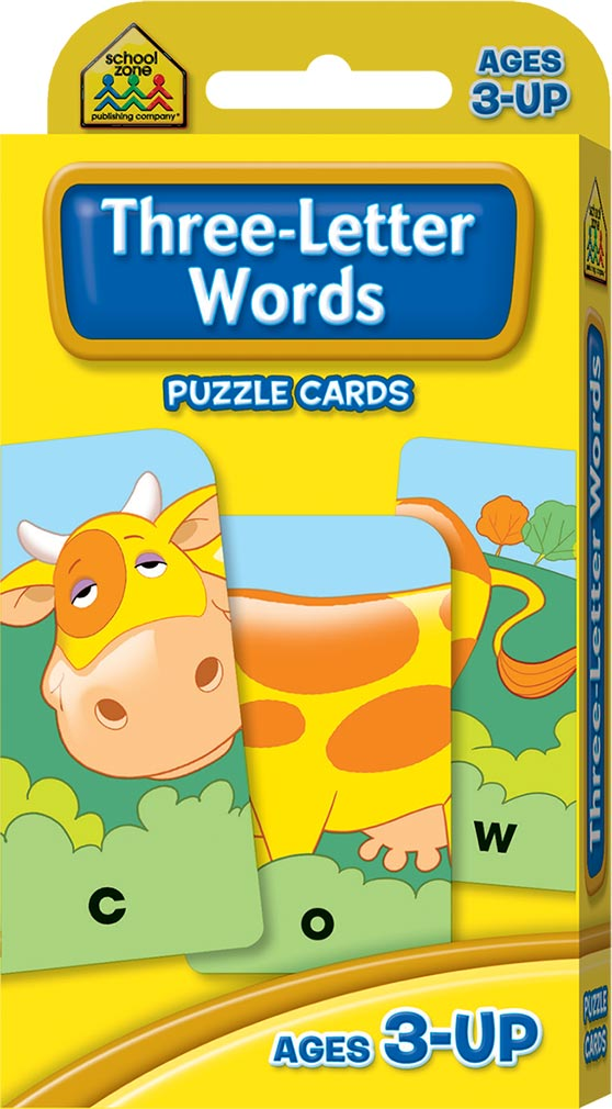 School Zone Three Letter Words Puzzle Cards Flash Cards