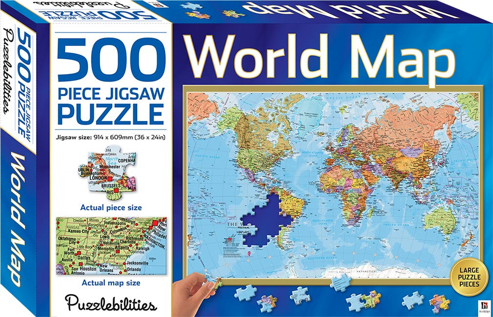 World Map 500 Piece Jigsaw Puzzle Puzzles Games Toys Hobbies