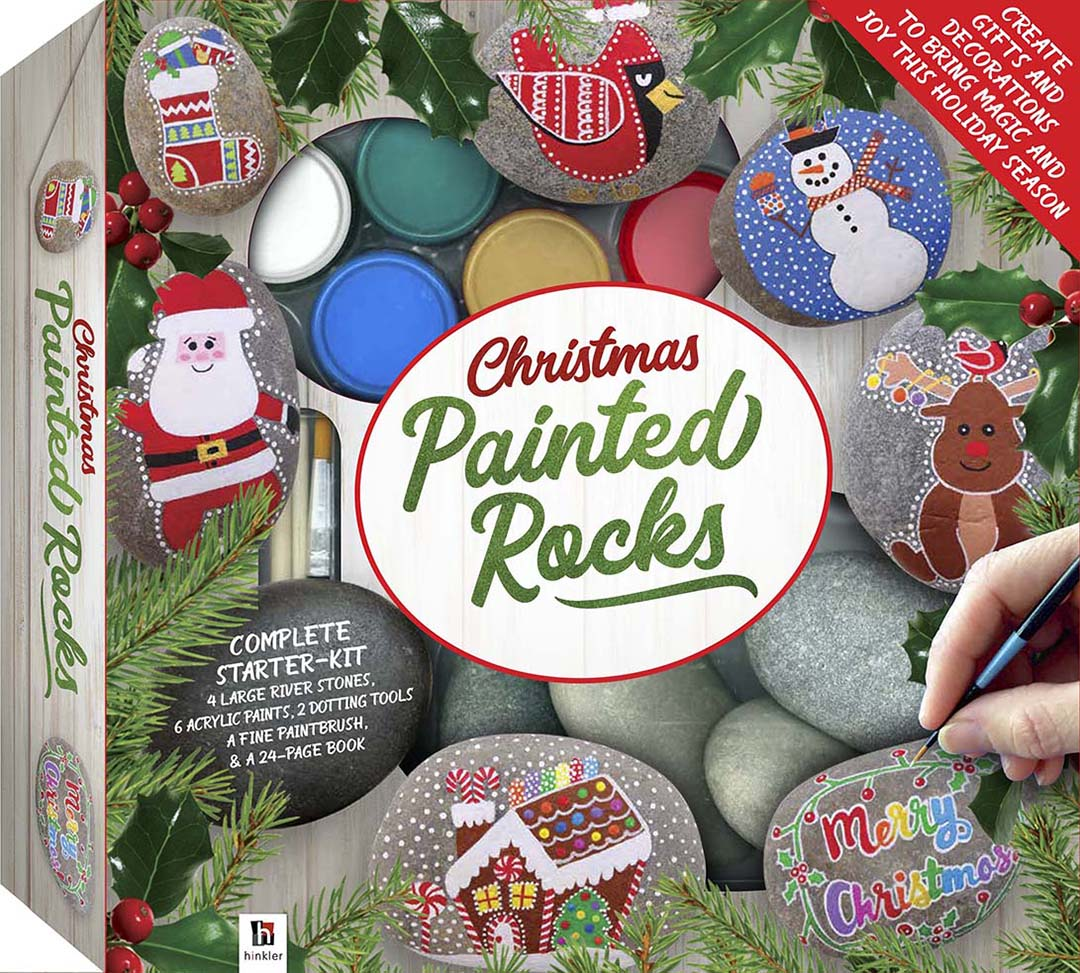 Christmas Rock Painting Designs.Christmas Painted Rocks Deluxe 2019 Ed Rock Painting