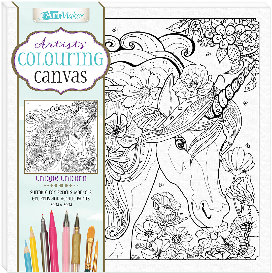 Artists\' Colouring Canvas: Unique Unicorn - Kits - Adult Colouring ...