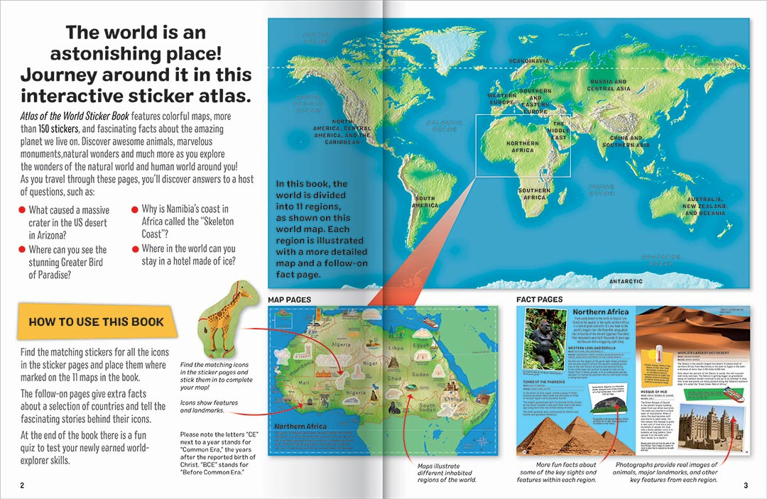 Give Kids The World Map.Sticker Atlas Of The World Reference Children Hinkler