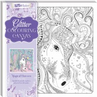 Art Maker Glitter Colouring Canvas: Magical Unicorn
