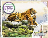 Paint by Numbers Canvas: Tigers in the Mist