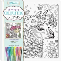 Artists' Colouring Canvas: Lovely Llama with Gel Pens