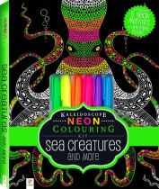 Neon Colouring Kit with 6 highlighters: Sea Creatures