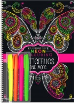 Neon Colouring Butterflies with 4 Highlighters