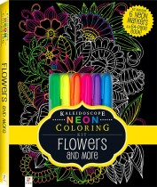 Neon Colouring Kit with 6 highlighters: Flowers
