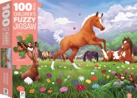 100-Piece Children's Fuzzy Jigsaw: Horsing Around