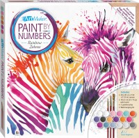 Paint by Numbers Canvas: Rainbow Zebras