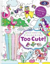Kaleidoscope Colouring Too Cute & 5 Gel Pens (wiro)