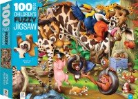 100-Piece Children's Fuzzy Jigsaw: Animal Mayhem
