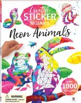 Creative Sticker Mosaics: Neon Animals